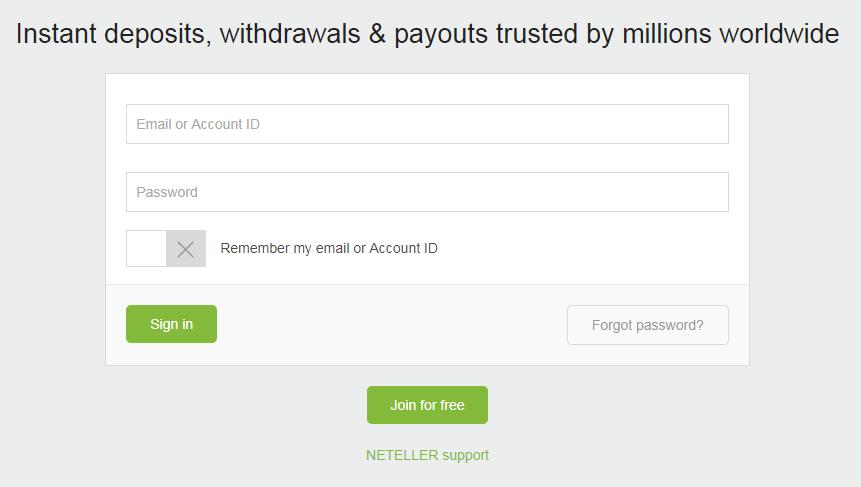 Dang nhap tai khoan Neteller - Hướng dẫn nạp tiền vào Neteller bằng thẻ Visa/Master Card