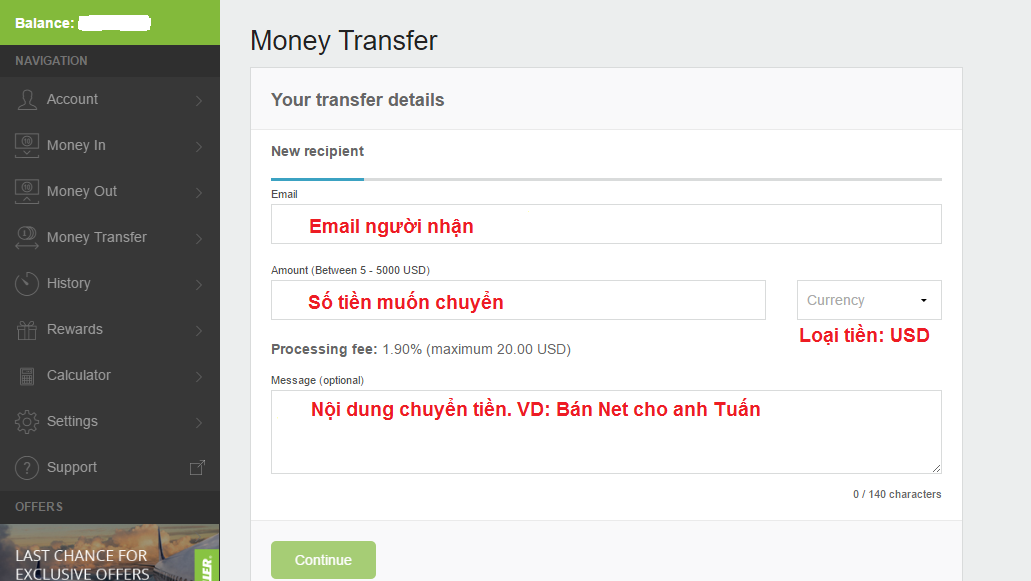 Dien email nguoi nhan va so tien can chuyen - Hướng dẫn chuyển tiền giữa các tài khoản Neteller