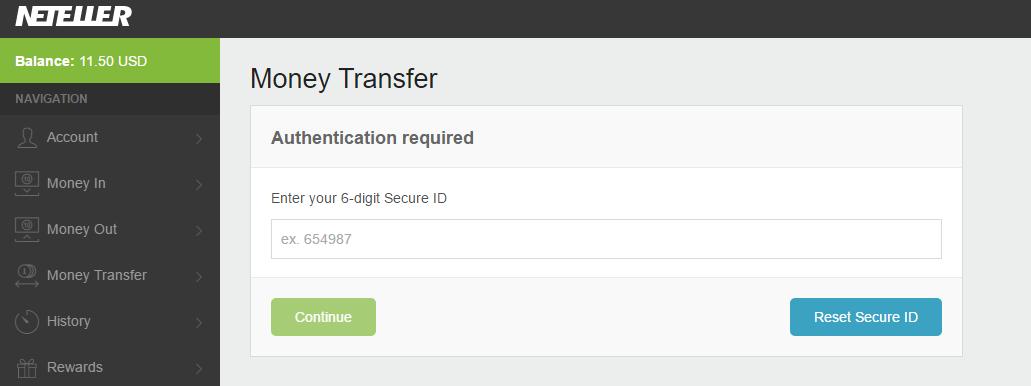 Nhap ma Secure 6 de chuyen tien Neteller - Hướng dẫn chuyển tiền giữa các tài khoản Neteller