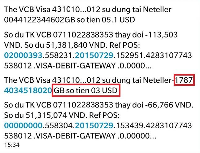 Tin nhan lay ma xac thuc the Visa Master Card - Hướng dẫn nạp tiền vào Neteller bằng thẻ Visa/Master Card