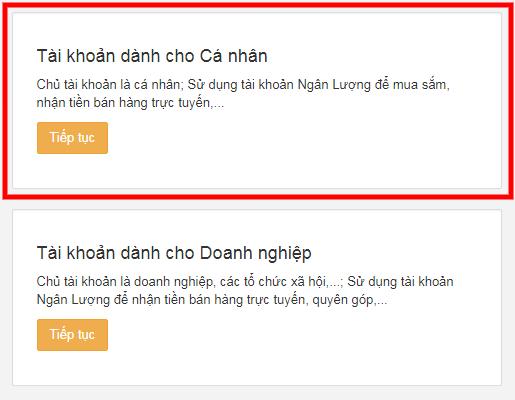 chon loai tai khoan ngan luong - Hướng dẫn đăng ký và xác minh tài khoản Ngân Lượng từ A đến Z