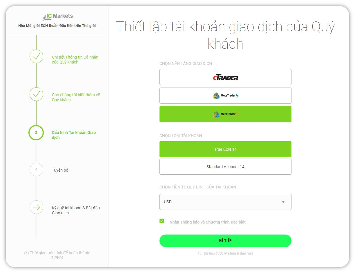 Thiet lap tai khoan giao dich - Hướng dẫn mở tài khoản giao dịch Forex trên sàn ICMarkets