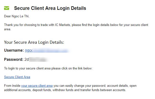 email thong tin tai khoan ICMarkets - Hướng dẫn mở tài khoản giao dịch Forex trên sàn ICMarkets